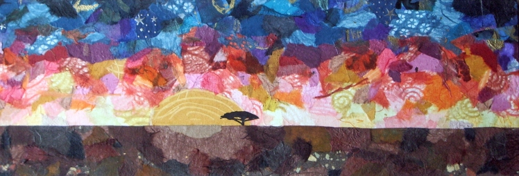 "Mel Kolstad, ""Acacia Tree at Sundown"", torn paper collage, 8"" x 24"", $200"
