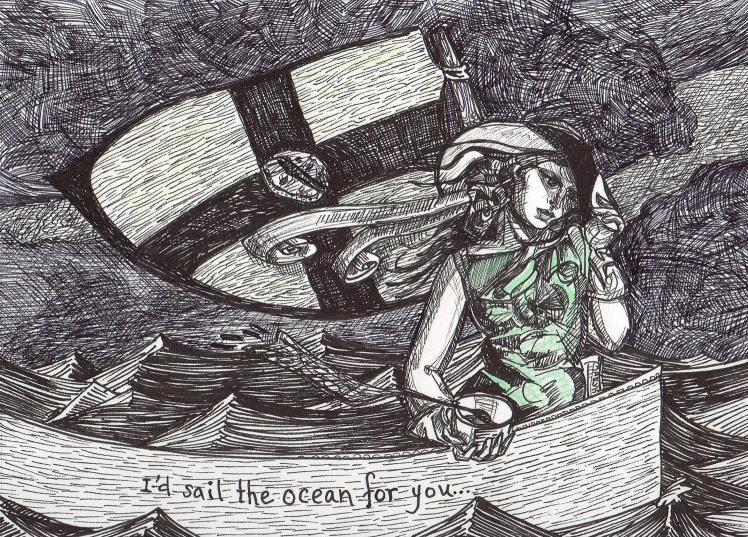 """I'd Sail the ocean for you, colored pencil and pen & ink, 5""""x7"""", 2014, NFS"""