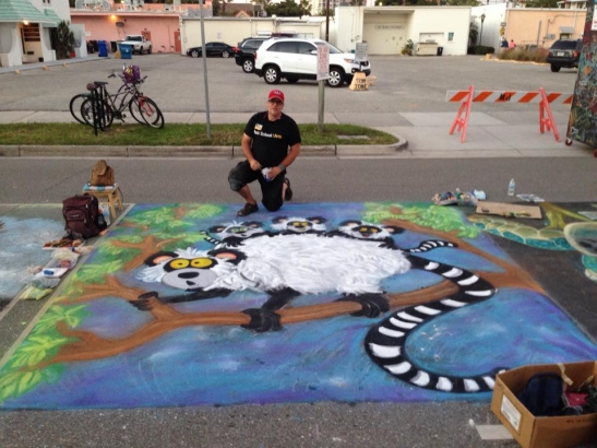 Tim Decker, Chalk it UP guest artist shown at Sarasota  Chalk Festival 2015