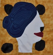 "Blue Wig Betty, fabric, 12""x12"", 2016"