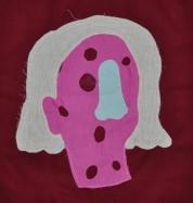 """Sick Sarah, fabric, 12""""x12"""", 2016"""