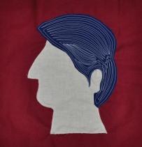 """Fancy Hair Fred, fabric, 12""""x12"""", 2016"""