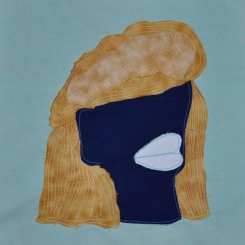 "Big Hair Brenda, fabric, 12""x12"", 2016"