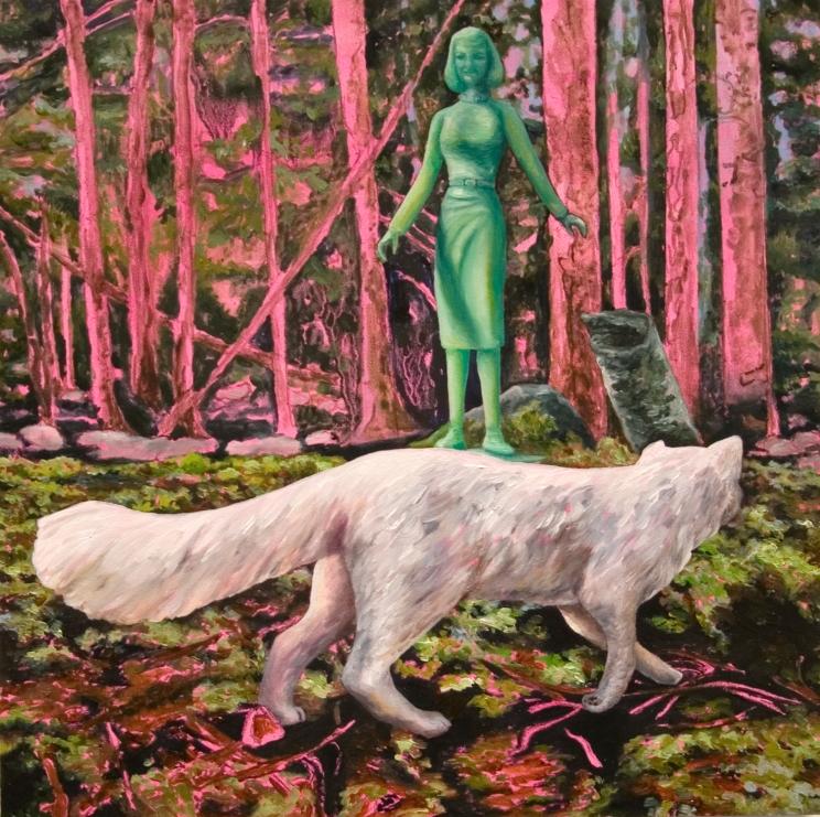 "The Familiar (Arctic fox pink), oil on panel, 8""x8"", 2016"