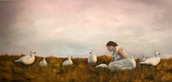 """We didn't need to say anything more - this was the place you were dying, oil on canvas, 35x72"""", 2014"""
