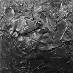 Paint It All Black. 6x6 in. Encaustic and found paper on cradled birch panel. 2018