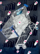"""Cupacke Cart, Print Media with Cyanotype, Tape, Paint and Pom Poms, 30x22"""", 2019"""