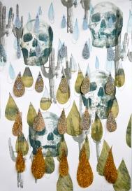 """Glitter Skulls, Print Media with Glitter and Stitching, 22x15"""", 2019"""