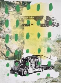 """Trucks in Desert, Print Media and Paint, 15x11"""", 2019"""