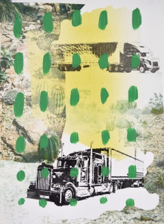 "Trucks in Desert, Print Media and Paint, 15x11"", 2019"