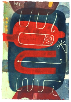 Doppler Effect Crashes Heideggerian Symposium, Watercolor and gouache on paper, 7.5 x 5.5 inches, 2018