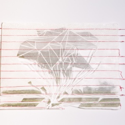 Latitude 2, paper that has red thread embedded in it photo transfers, marker, pen, graphite, wax, red thread, nails, 15 x 22 inches, 2016
