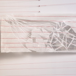 Latitude 6, paper that has red thread embedded in it photo transfers, marker, pen, graphite, wax, red thread, nails, 7.6 x 22 inches, 2016