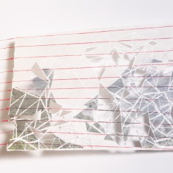 Latitude 8, paper that has red thread embedded in it photo transfers, marker, pen, graphite, wax, red thread, nails, 15 x 22 inches, 2016