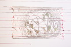 Latitude 9, paper that has red thread embedded in it photo transfers, marker, pen, graphite, wax, red thread, nails, 15 x 22 inches, 2016