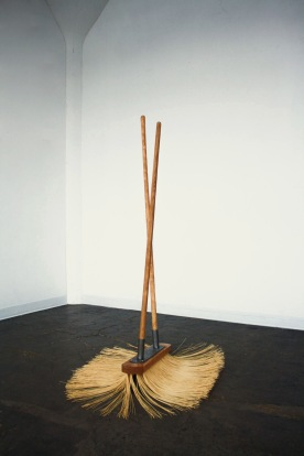 """Push/Pull (How Will We Manage), 65"""" x 36"""" x 30"""", bristles, steel, wood, 2017"""